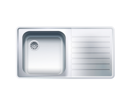 Single Bowl Stainless Steel Sink With Drainer. Vector Photo Realistic Illustration Isolated On White