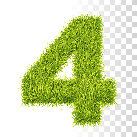 4. Vector Number Four Illustration. Fresh Green Grass Realistic Texture Çizim