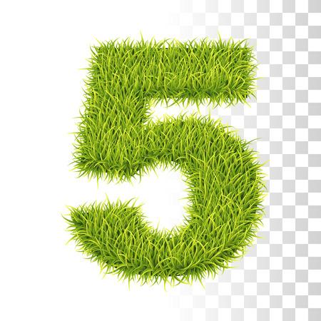5. Vector Number Five Illustration. Fresh Green Grass Realistic Texture Çizim