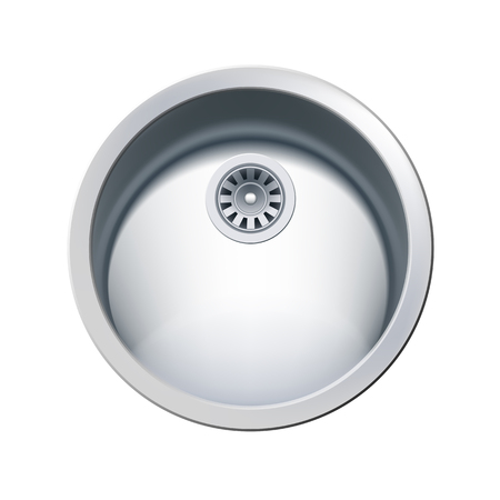 Single Bowl Round Stainless Steel Sink. Vector Photo Realistic Illustration Isolated On White