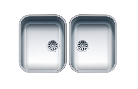 Dual Bowl Stainless Steel Sink. Vector Photo Realistic Illustration Isolated On White Çizim