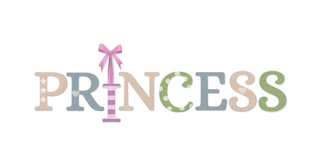 Princess. Vector Photo Realistic Textured Plywood Decoration For Baby Room