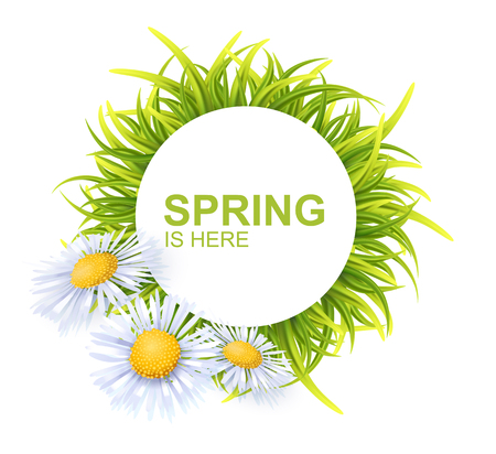 Spring Round Banner With Green 3d Photo Realistic Grass And Flowers. Spring Is Here Vector Illustration