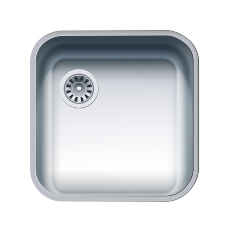 Single Bowl Stainless Steel Sink. Vector Photo Realistic Illustration Isolated On White