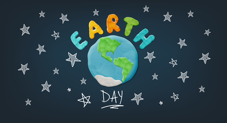 Plasticine Earth And Letters. Vector Bright Creative Background For Earth Day Celebration
