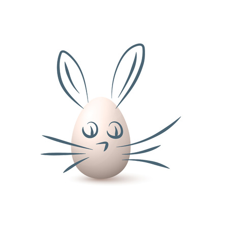 Cute Bunne Drawn Above Easter Egg Isolated On White. Vector realistic Illustration Çizim