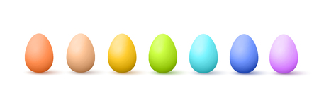 Vector Realistic Painted Easter Eggs Illustration Isolated On White Çizim