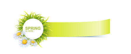 Spring Bright Banner With Green 3d Photo Realistic Grass And Flowers. Spring Is Here Vector Illustration