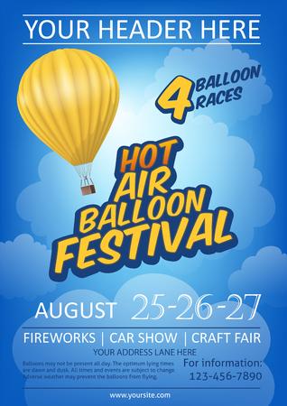 Hot Air Balloons Festival Vector Poster Template
