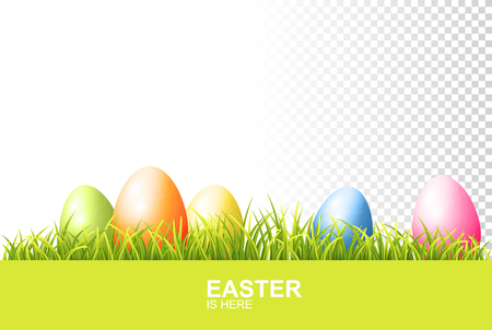 Painted Easter Eggs And Realistic Green Fresh Grass. Vector Banner On Transparent Background 向量圖像