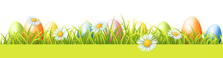 Colorful Easter Eggs, Green Fresh Grass And Spring Flowers. Vector Seamless Border Çizim