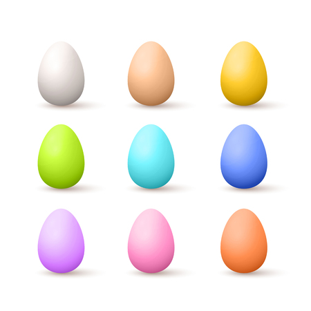 Vector Photo Realistic Natural And Painted Easter Eggs Illustration Isolated On White
