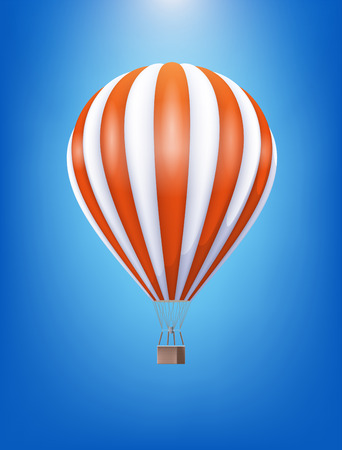 Hot Air Balloon With Red And White Pattern Floating In The Clear Blue Sky. Vector Realistic 3d Illustration Çizim
