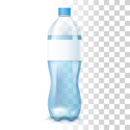 Clean Blue Water In The Plastic Bottle With Label. Vector 3d Photo Realistic Mock Up On Transparent Background
