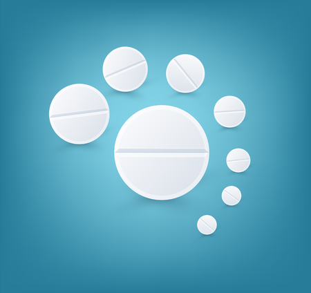 Medical White Round Pills. Vector  Realistic Background