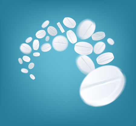 Medical White Round Pills Explosion. Vector Background