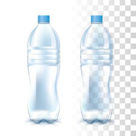 Bottiglia di plastica trasparente vuota trasparente. Mockup realistico di foto vettoriali 3D