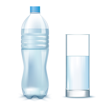 Transparent Clean Water In The Plastic Bottle And Glass. Vector 3d Photo Realistic Mock Up Isolated On White Background