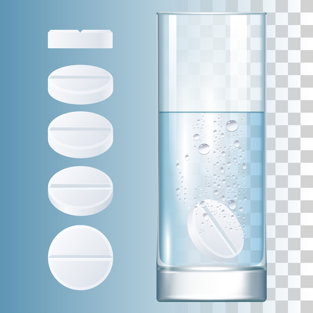 Vector Medical 3d Realistic Illustration. White Round Pills And Glass With Water Çizim