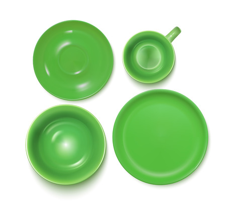 Green Service Set: Plate, Soup-plate, Cup And Soucer. Top View. Vector Photo Realistic Illustration Isolated On White Çizim