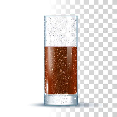Cola Slightly Glass On Transparent Background. 3d Photo Realistic Vector Illustration