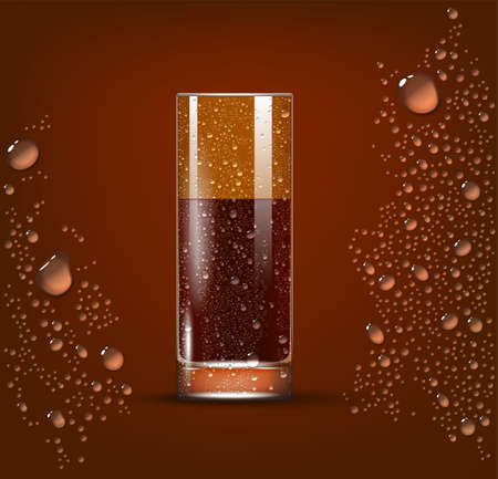 Cola Transparent Slightly Glass. 3d Photo Realistic Vector Illustration 矢量图像