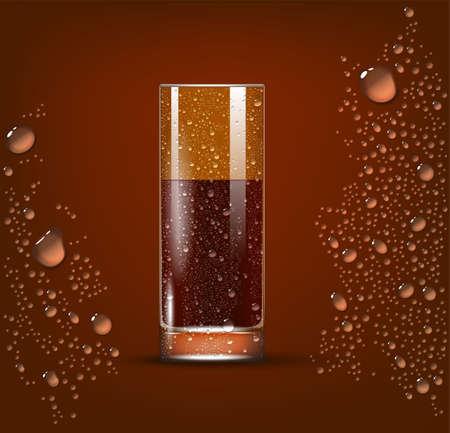 Cola Transparent Slightly Glass. 3d Photo Realistic Vector Illustration 向量圖像
