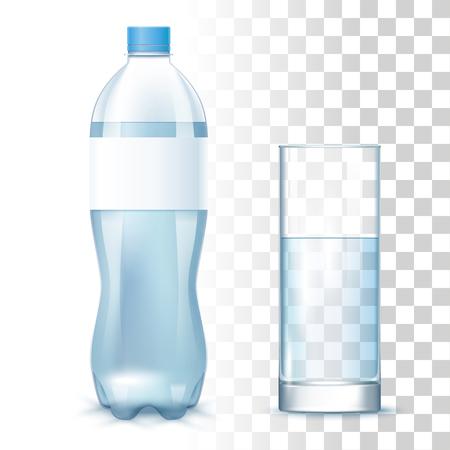 Transparant schoon water in de plastic fles met etiket en glas. Vector 3D-fotorealistische mock-up op transparante achtergrond