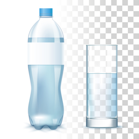 Transparent Clean Water In The Plastic Bottle With Label And Glass . Vector 3d Photo Realistic Mock Up On Tranparent Background