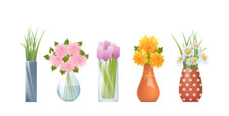 Illustration vectorielle de vases de dessin animé et de fleurs isolées sur blanc