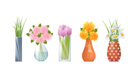 Vector Illustration Of Cartoon Vases And Flowers Isolated On White Çizim