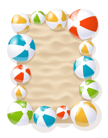 Colorful Inflatable Beach Balls On The Sand Background. 3d Photo Realistic Vector Illustration