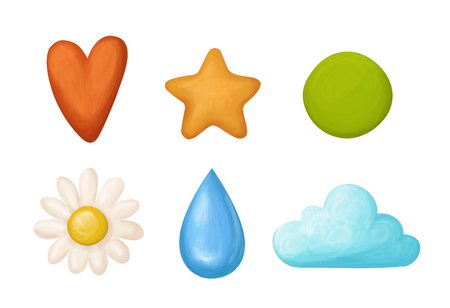 Set Of Handrawn Shapes Isolated On White. Heart, Star, Circle, Flower, Drop And Cloud.