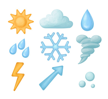 Set Of Handdrawn Weather Icons Isolated On White