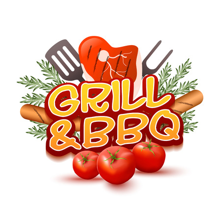 Grill And BBQ Round Badge. Logo, Banner Or Label Template Isolated On White