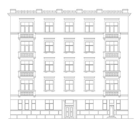 Old Building Facade. Front View. Technical Vector Illustration. Urban Architecture Vetores