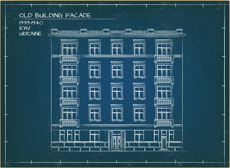 Old Building Facade. Front View. Technical Vector Illustration. Blueprint Style Vetores