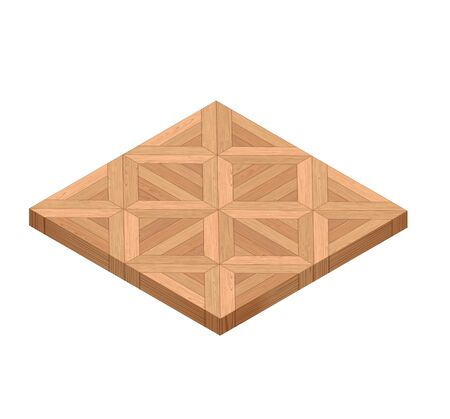 Isometric Perspective Wooden Parquet Floor. 3d Vector Realistic Tile. For Game Or Interface Design