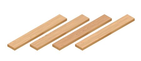 3d Isometric Perspective Wooden Planks. 3d Vector Realistic Illustration. For Game Or Interface Design