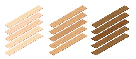3d Isometric Perspective Laminate Planks. 3d Vector Realistic Illustration. For Game Or Interface Design Ilustração