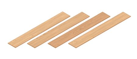 3d Isometric Perspective Laminate Planks. 3d Vector Realistic Illustration. For Game Or Interface Design