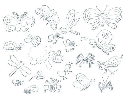 Set Of Hand Drawn Insects Isolated On White Background. Ladybird, Butterfly, Beetle, Caterpillar, Damselfly, Spider And Other. For Coloring And Print 矢量图像
