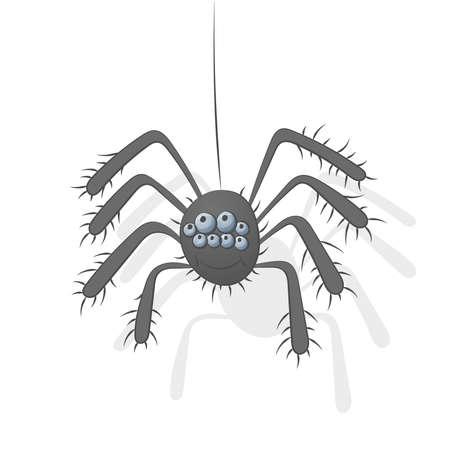 Cartoon Funny Spider Illustration Isolated On White Background