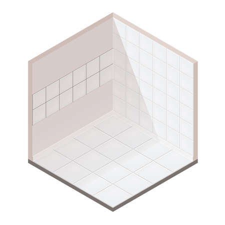 Realistic Isometric Tiles At The Walls And On Floor. Vector Tiling Room Illustration. For Games, Interfaces, UI, GUI