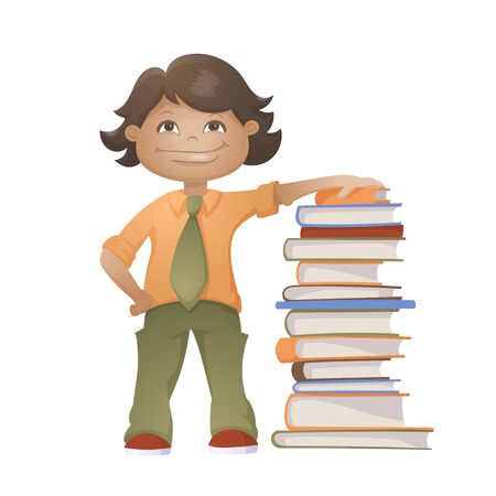 Little Happy Boy With Pile Of The Books. Vector Illustration Isolated On White Background 矢量图像