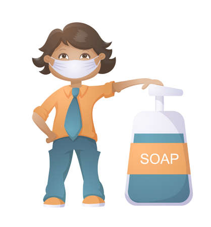 Boy With The Flu Mask And Liquid Soap Isolated On White Background. Covid-19 Protection Vector Illustration.