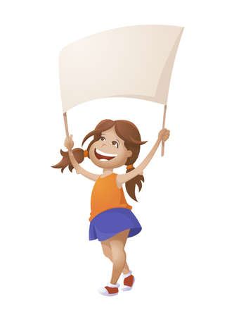 Cute Cartoon Girl With Empty Banner. Vector Illustration On White Background