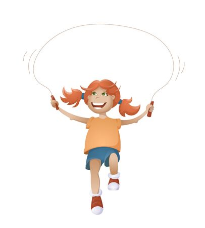 Cartoon Happy Smiling Girl With Jumping Rope. Vector Illustration Isolated On White Background