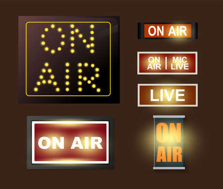 Various On Air Broadcasting Signs Set Glowing In The Dark