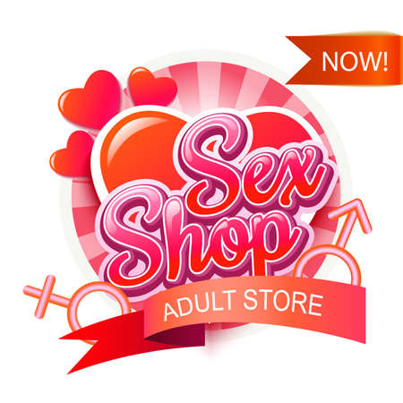 Sex Shop Adult Store  Template Isolated On White